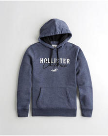Hollister Embroidered Logo Hoodie, HEATHER NAVY