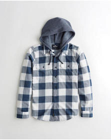 Hollister Hooded Twill Shirt, WHITE AND NAVY CHECK