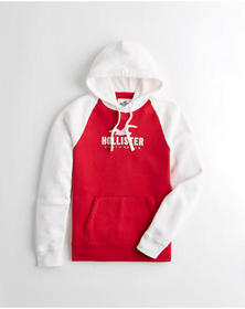 Hollister Colorblock Logo Hoodie, WHITE AND RED