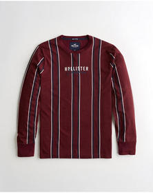 Hollister Stripe Logo Graphic Tee, BURGUNDY STRIPE