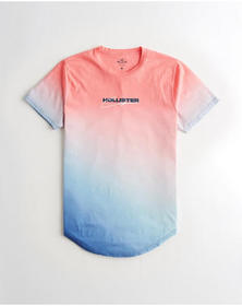 Hollister Ombré Logo Graphic Tee, PINK TO BLUE OMB