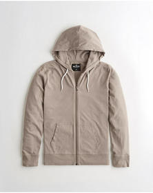 Hollister Full-Zip Hooded T-Shirt, TAN