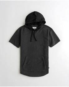 Hollister Curved Hem Short-Sleeve Hoodie, BLACK