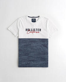 Hollister Colorblock Logo Graphic Tee, TAN