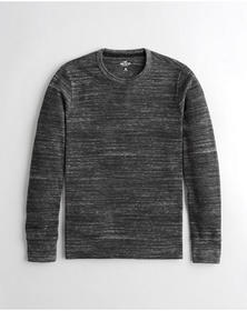 Hollister Cozy Thermal T-Shirt, HEATHER BLACK