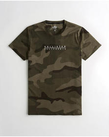 Hollister Embroidered Logo Graphic Tee, CAMO