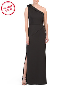KAY UNGER One Shoulder Stretch Faille Gown
