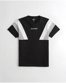 Hollister Colorblock Crewneck T-Shirt, BLACK