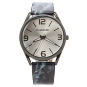 BEBE Womens Silver Dial Marble Strap Watch