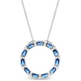 LESA MICHELE Sterling Silver Blue Cubic Zirconia C
