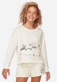 Justice Sleepy Kitty Fleece Pajama Top