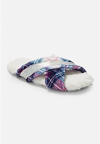 Justice Plaid Criss Cross Slippers