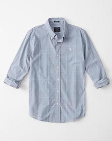 Super Slim Icon Poplin Shirt, BLUE PLAID