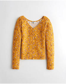 Hollister Cinch-Front V-Neck Top, YELLOW FLORAL