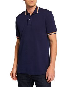 Maceoo Men's Tip Blue Striped Short-Sleeve Polo Sh