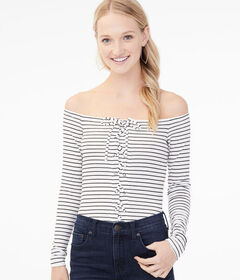 Aeropostale Long Sleeve Striped Lace-Up Off-The-Sh