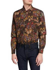 Valentino Men's Multi Butterfly-Print Long Sleeve