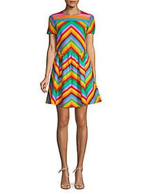 Valentino Chevron Cotton & Silk-Blend A-Line Dress