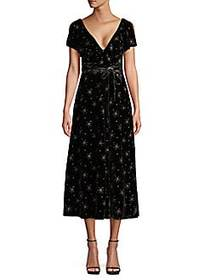 Valentino Star Embroidery Velvet Flare Midi Dress