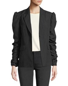Romeo & Juliet Couture Pinstriped Ruched-Sleeve Bl