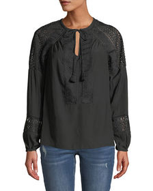 Ramy Brook Winnie Crochet-Trim Long-Sleeve Top