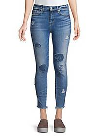 7 For All Mankind High-Rise Heart Patch Ankle Skin