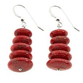 Jay King Red Coral Disc Bead Drop Sterling Silver