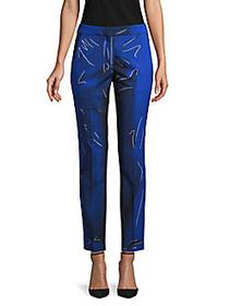 Moschino Printed Wool-Blend Ankle Trousers BLUE