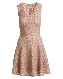 ALAIA Sleeveless Scalloped Eyelet Lace Fit-and-Fla