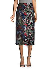 Valentino Embroidered Floral Knee-Length Skirt NER