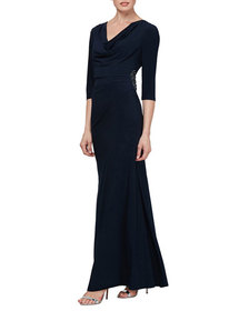SLNY Petite Cowl-Neck 3/4-Sleeve Column Gown with