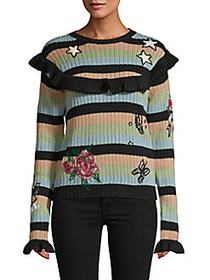Valentino Stripes Wool Sweater BLACK MULTI