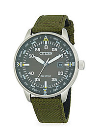Citizen Stainless Steel & Nylon-Strap Watch GREEN