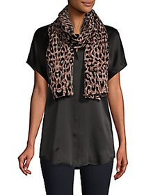 Karl Lagerfeld Leopard-Burnout Scarf BROWN