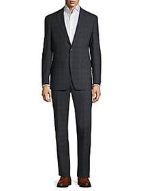 Calvin Klein Slim-Fit Plaid Suit BLACK BLUE