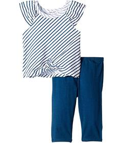 Splendid Littles Diagonal Stripe Tie Front Top Set
