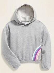 Graphic Cropped Cinched-Hem Hoodie for Girls