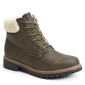 Womens Faux Shearling Cuff Cold Weather Booties