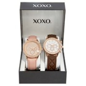 XOXO Womens Rose Gold Crystal Chronograph Watch 2-
