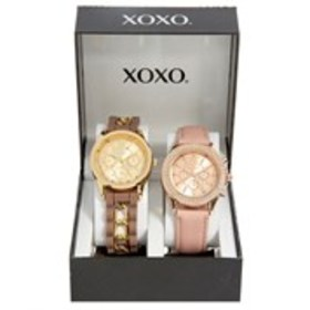 XOXO Womens Crystal Chronograph Watch 2-Piece Set