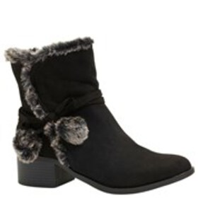 NINE WEST Girls Faux Fur Trim Block Heel Booties