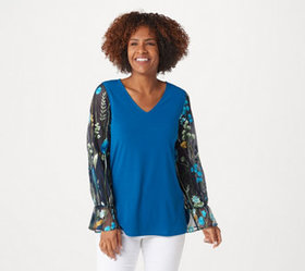 """""""As Is"""" Susan Graver Liquid Knit Tunic with Embroi"""