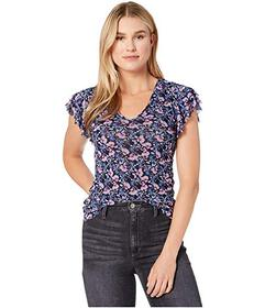 Vince Camuto Tiered Ruffle Sleeve Floral Mesh V-Ne