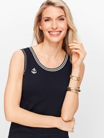Talbots Embroidered Anchor Charming Shell