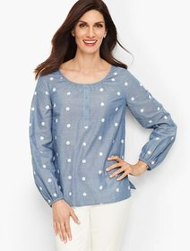 Talbots Embroidered Daisy Chambray Popover