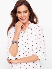 Talbots Classic Cotton Shirt - Ditsy Embroidered