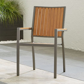 Crate Barrel Alfresco II Natural Dining Arm Chair