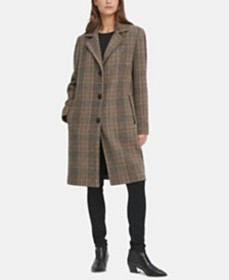 DKNY Plaid Faux-Leather-Trim Walker Coat, Created