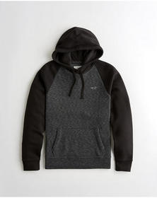 Hollister Colorblock Hoodie, BLACK AND HEATHER BLA