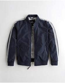Hollister Sleeve-Stripe Bomber Jacket, NAVY
